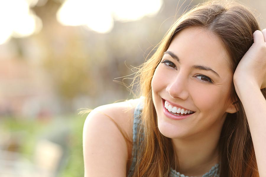 beautiful smile with nice white teeth.